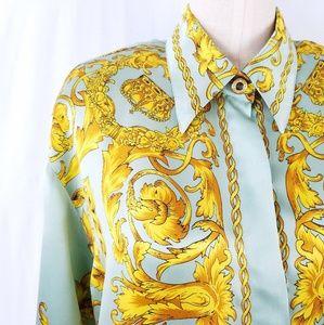Vintage Baroque Mint Gold Oversized Silk Blouse